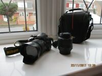 Used, NIKON d3100 dslr with two lenses, case, tripod, charger for sale  Beverley, East Yorkshire