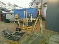 Surveyors spinning dual grade lasers tripods staffs target holders etc
