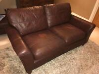 M&S large leather brown sofa