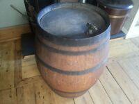 Lovely Vintage solid oak cast barrel