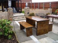MADE BY HAND COFFEE/DINING TABLES,BEDS,SIDEBOARD,TV UNIT,CHAIRS,DRESSER,GARDEN&PATIO BENCH FROM £49