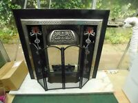 CAST IRON TILED FIREPLACE WITH GAS FEED AND MARBLE HEARTH AND BACK CAN DELIVER