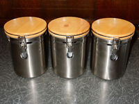 3 Stainless Steel/Wood Kitchen Cannisters - from Howells Cardiff