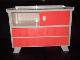 retro storage 18x10x13 inches retro style plastic orange and white unit collect/deliver Stonehaven