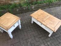Wooden coffee table and side table - restored