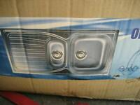 Brand New 1.5 Bowl Stainless Steel Kitchen Sink and Tap Set