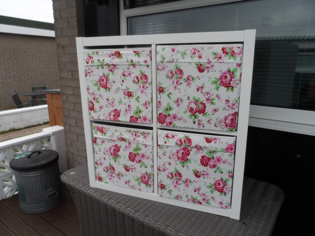 ikea kallax shelving unit complete with 4 fabric boxes in caerphilly gumtree. Black Bedroom Furniture Sets. Home Design Ideas