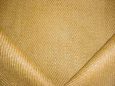 9+y LUXURIOUS COLEFAX FOWLER HARVEST GOLD LINEN HERRINGBONE UPHOLSTERY FABRIC