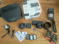 📷SONY ALPHA 5100 a5100 WITH 2 LENSES 🔹 128GB / 3 BATTERIES / CASE 🔹 24MP Camera APS-C DSLR 📷