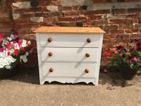 Late Victorian/early Edwardian pine painted chest of drawers