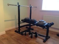 Bench, barbell, 2dumbbells and 100kg cast iron plates