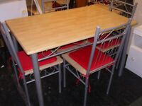 Light Wood Finish Dining Table and 4 Chairs
