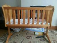 WOODEN ROCKING CRADLE COT