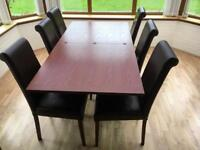 Dining table and 6 brown leather chairs - extendable