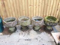 Vintage stone garden planters