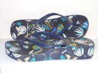 Tory Burch Designer Ladies Wedge Flip-Flop – Blue Floral Pattern