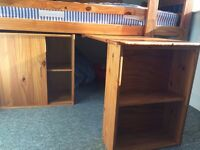 Cabin Bed with cupboard,desk, shelving (Mattress optional ) local view and collect Ipswich
