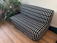 Ikea 2-seat sofa bed. LYCKSELE MURBO with Cover Ebbarp black/white and extra Black one. RRP£279