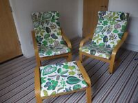 2 garden/conservatory chairs and one foot stool.