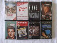 8 pre-recorded cassettes - ELO, Rod Stewart, Gary Numan, McCartney, Kinks, Earth Band, Elvis & MGM