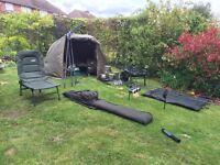 Fishing equipment complete setup, bag, fish rod, fishing reels, bivvy, tackle, barrow, bait bags