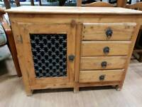Small cupboard in solid pine with drawers