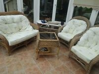 Conservatory furniture, 2-person settee, 2 chairs and 2 tables.