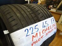 MATCHING PAIR 225 45 17 MICHELINS 8mm TREAD £80 PAIR SUP & FITD 7-DYS LOADS MORE AV txt size for pr