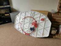 Basket ball backing board, hoop and Net