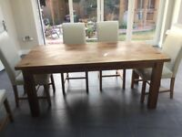 Custom built solid oak table and 6 chairs. Table 6 ft by 3 not veneer. Solid oak