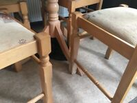 Wooden table and 4 chairs (collection from Alston, Cumbria)