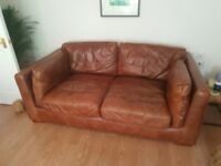 Pair of brown leather sofas - excellent condition