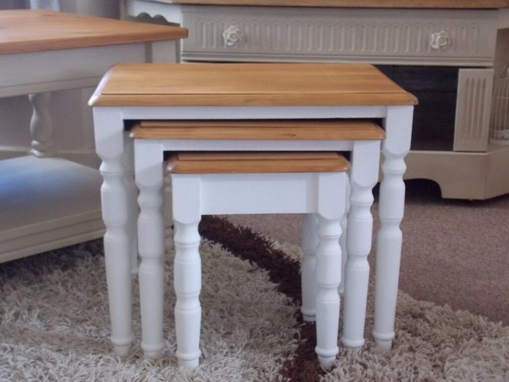 SHABBY CHIC NEST OF TABLES PAINTED IN ANNIE SLOAN PURE WHITEin Hull, East YorkshireGumtree - SHABBY CHIC NEST OF TABLES PAINTED IN ANNIE SLOAN PURE WHITE Beautiful Shabby Chic Solid Pine nest of tables finished with Annie Sloan Clear Wax. Dimensions large table Height 16.5 inch Depth 14 inch Width 19 inch Visit my page on Facebook SHABBY...