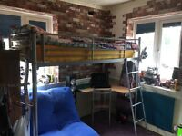 Single Metal Frame Cabin Bed with Desk and Futon