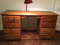 Solid Pine Double Pedestal Desk #Covid safe collection outside#