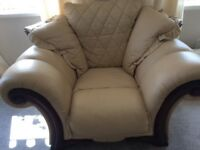 Cream leather settee and 2 chairs
