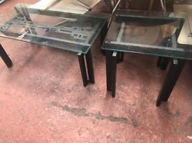 Glass & Metal Coffee Table & Side/ Lamp Table