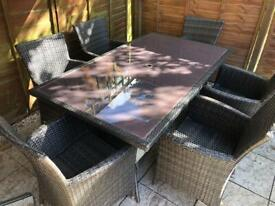 Rattan Garden Table with 6 ArmChairs