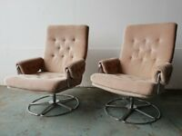 PAIR OF RETRO FABRIC SWIVEL ARMCHAIRS MID CENTURY CHROME LEG CHAIR SET DELIVERY AVAILABLE