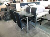Black Glass Table With Four Modern Chairs - Delivery Available