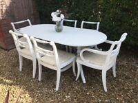 STUNNING SHABBY CHIC PAINTED EXTENDING DINING TABLE & 6 CHAIRS - FARROW & BALL