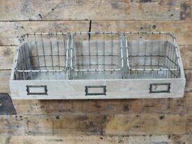 Industrial Storage Wall Unit Distressed Vintage