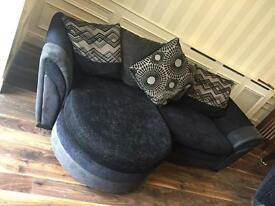 DFS Black and grey cloth sofa