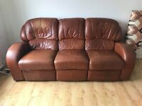 Large brown leather 3 seater reclining sofa & matching armchair MUST COLLECT BY 24/03