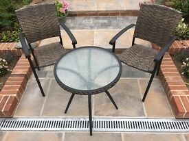 OUTDOOR PATIO SET TWO CHAIRS AND SMALL ROUND TABLE