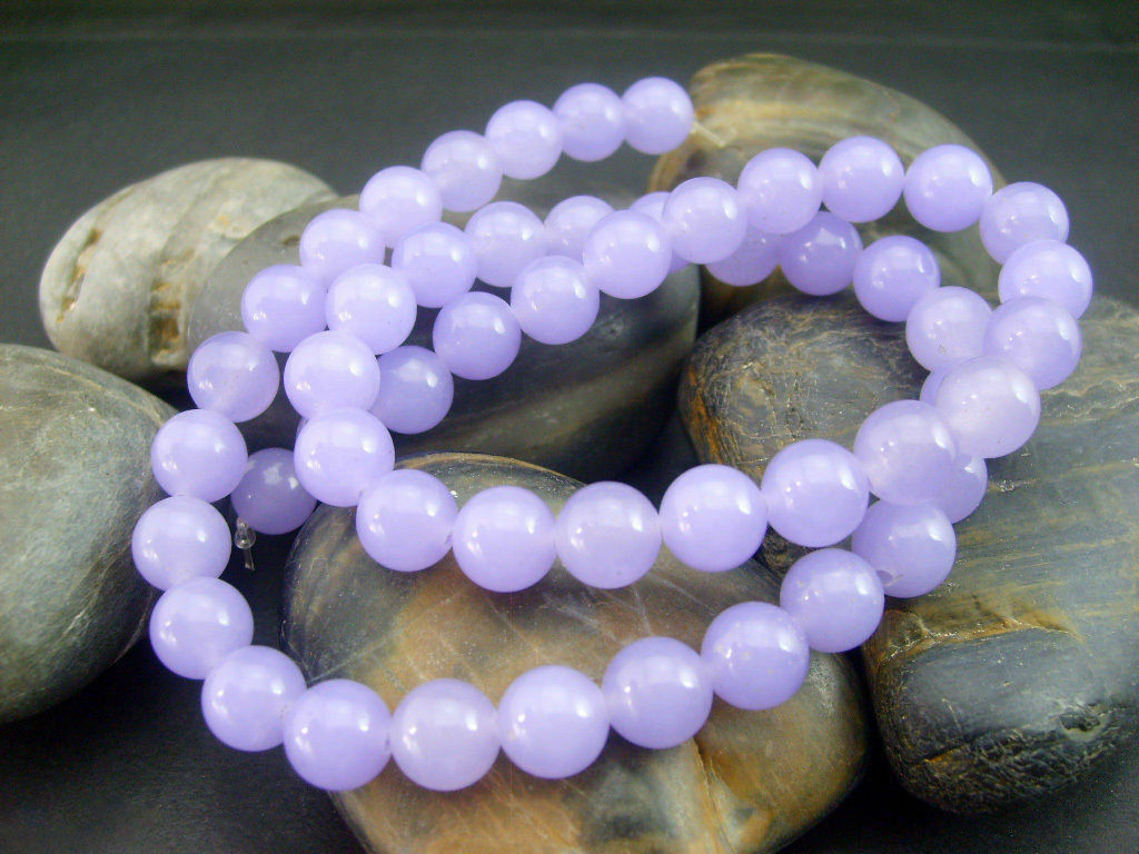 "Genuine 6mm Natural Smooth Lavender Jade Round Gemstone Loose Beads 15/""AAA"