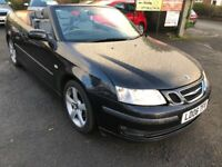 SAAB 9-3 2.0 VECTOR CONVERTIBLE AUTOMATIC 06 REG IN BLACK WITH BLACK ROOF AND GREY LEATHER TRIM