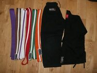 Kids Black Martial Arts Suit and Various Belts