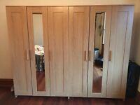 2 x ikea wardrobe with built in shelf section