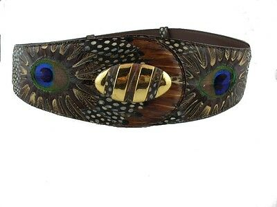 Lee Sands Hawaii Genuine Peacock & Pheasant Feathers Belt with Hair Clips